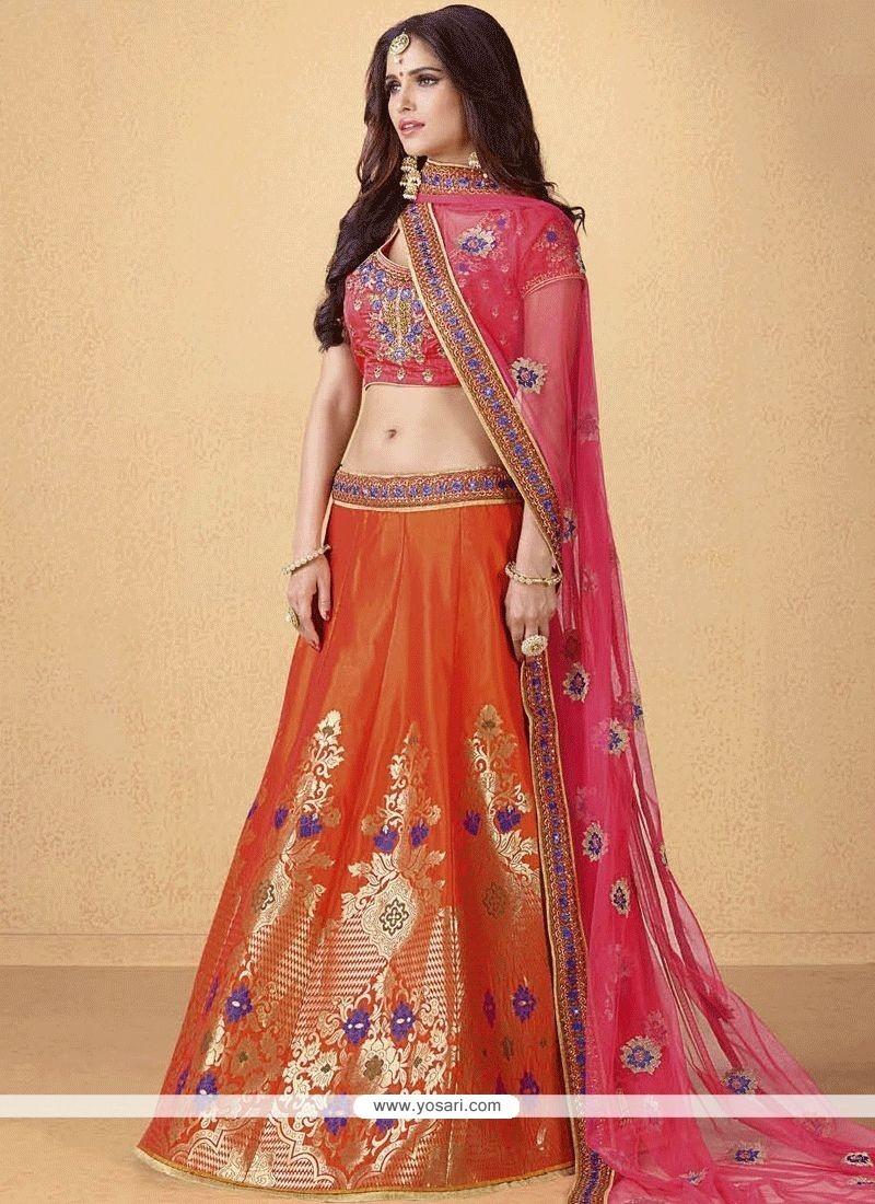 42be0c4b32 Buy Hot Pink And Orange Banarasi Silk Lehenga Choli | Wedding ...