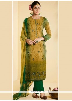 Faux Georgette Multi Colour Embroidered Work Designer Straight Suit