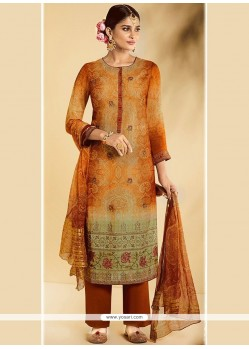 Embroidered Work Faux Georgette Multi Colour Designer Straight Suit