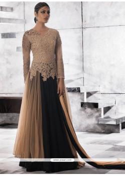 Beige And Black Faux Georgette Resham Work Designer Gown