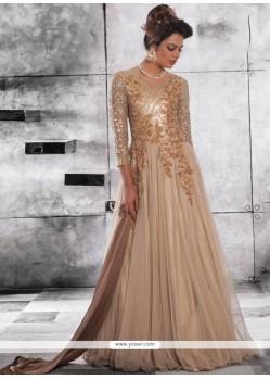 Net Beige Designer Gown