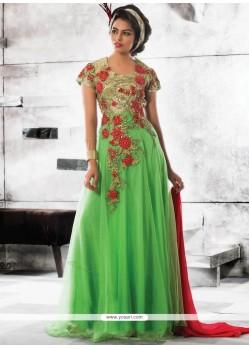 Green Faux Georgette Resham Work Designer Gown