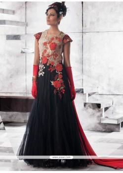 Black Net Embroidered Work Designer Gown