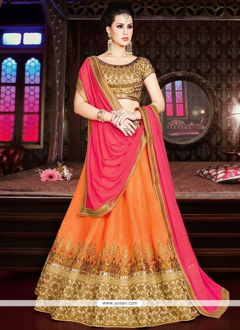 222083929a Buy Hot Pink And Orange Embroidered Work Art Silk Lehenga Choli ...