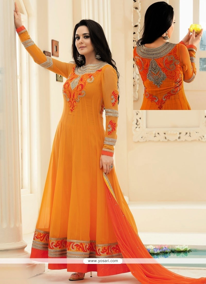 Preity Zinta Orange Resham Anarkali Salwar Kameez