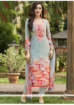 Embroidered Work Multi Colour Pant Style Suit