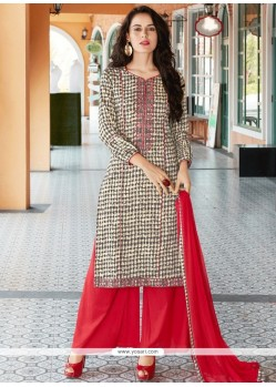 Embroidered Work Cotton Beige And Red Designer Palazzo Suit