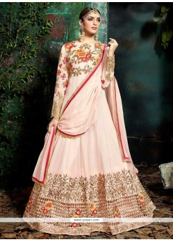 Lace Work Pink Floor Length Anarkali Suit