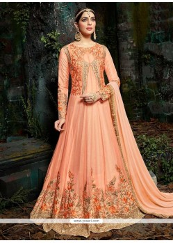 Resham Work Faux Georgette Floor Length Anarkali Suit