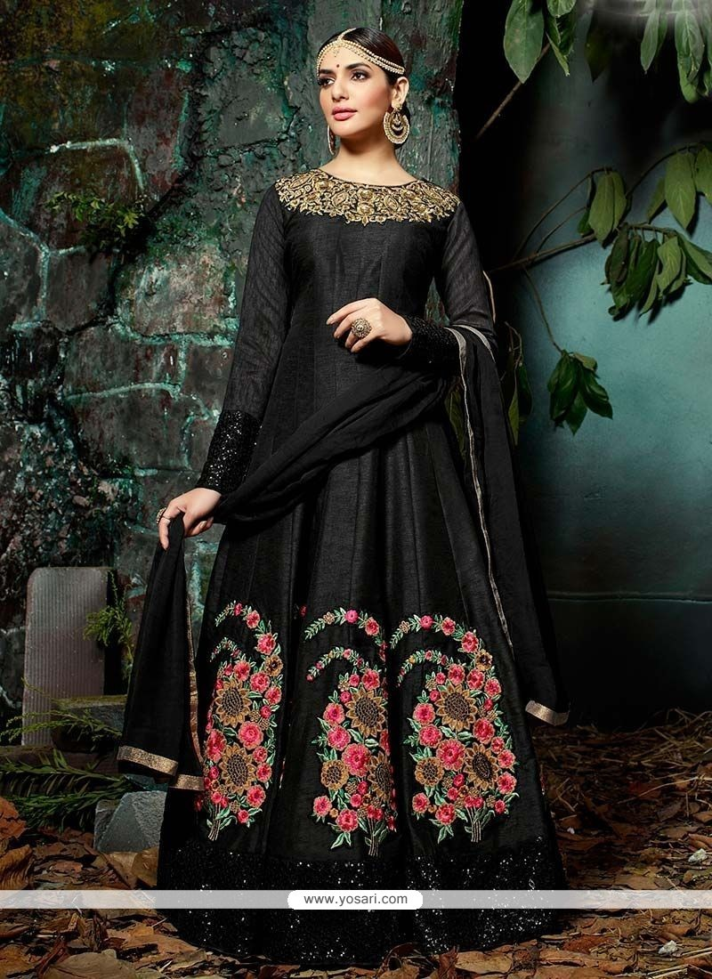 Black Art Silk Floor Length Anarkali Suit