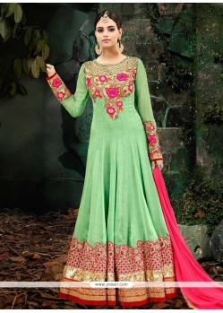 Lace Work Floor Length Anarkali Suit