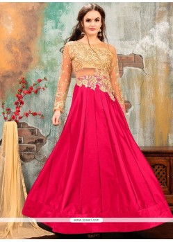 Tafeta Silk Floor Length Anarkali Suit