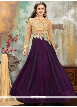 Purple Tafeta Silk Floor Length Anarkali Suit