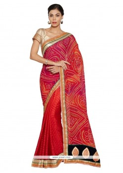 Embroidered Jacquard Shaded Saree In Orange, Pink And Red