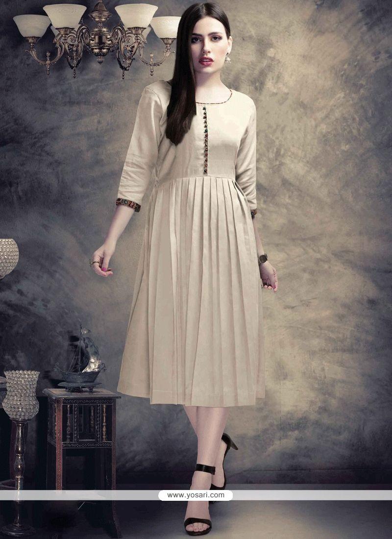 735e36feac7 Buy Plain Work Cotton Off White Party Wear Kurti