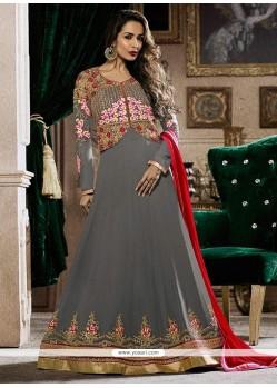 Malaika Arora Khan Faux Georgette Lace Work Floor Length Anarkali Suit