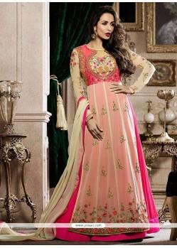 Malaika Arora Khan Pink Faux Georgette Resham Work Floor Length Anarkali Suit