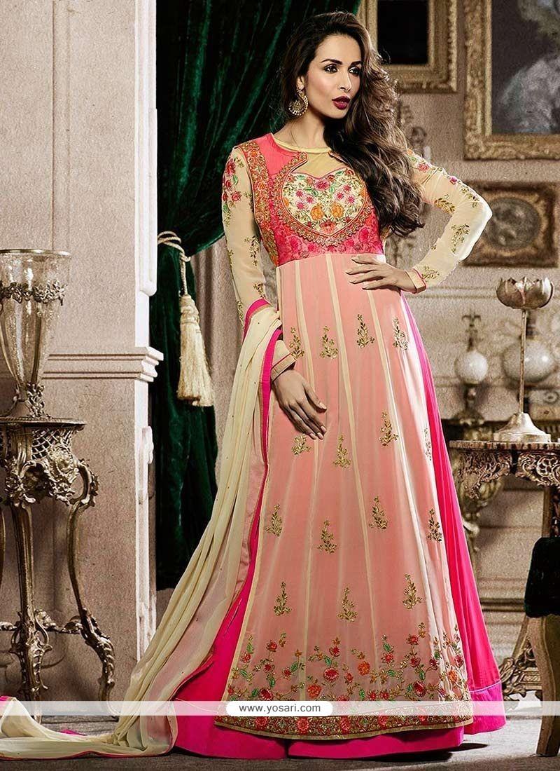 fdbc822cb5 Malaika Arora Khan Pink Faux Georgette Resham Work Floor Length Anarkali  Suit
