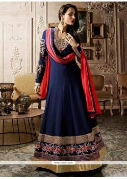 Malaika Arora Khan Navy Blue Floor Length Anarkali Suit
