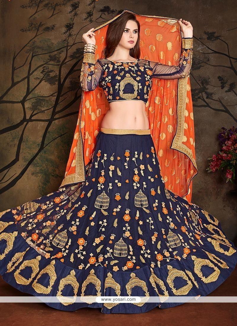 d1af96f809e3f Buy Navy Blue Embroidered Work Art Silk Lehenga Choli | Wedding ...