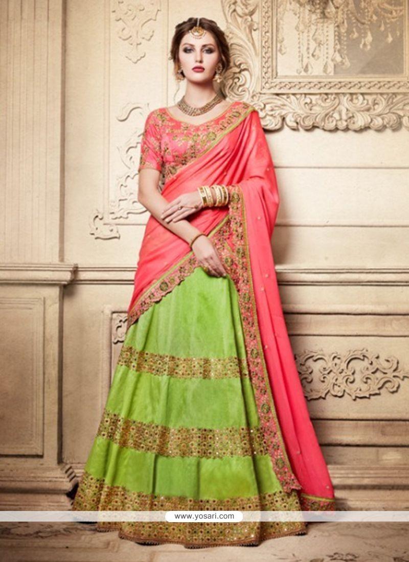 6920bf5ffa Buy Green And Pink Art Silk Lehenga Choli | Wedding Lehenga Choli