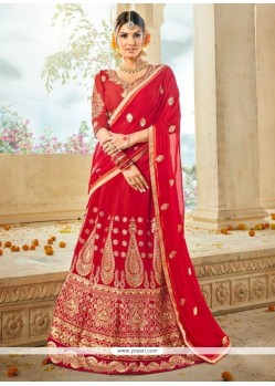 Red Embroidered Work Lehenga Choli