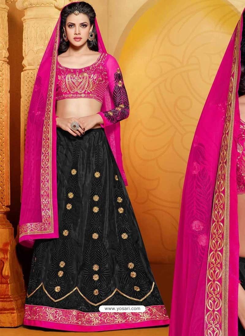 Black And Pink Net Designer Lehenga Choli