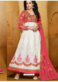 Red And White Net Anarkali Suit