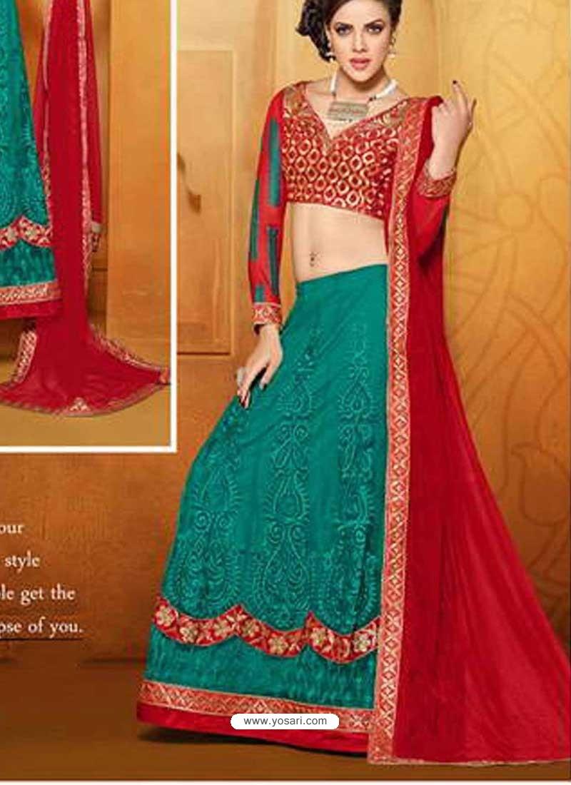 Red And Green Net Designer Lehenga Choli