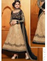 Cream And Black Net Designer Lehenga Choli