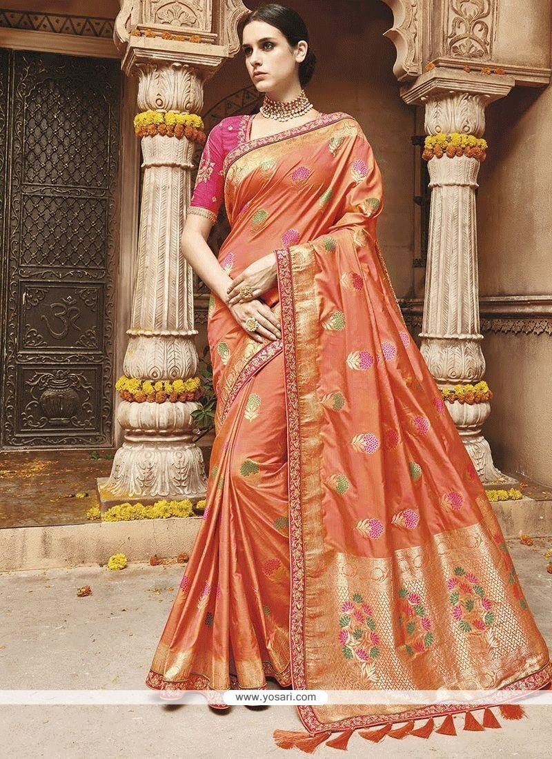 Weaving Art Silk Traditional Designer Saree In Orange
