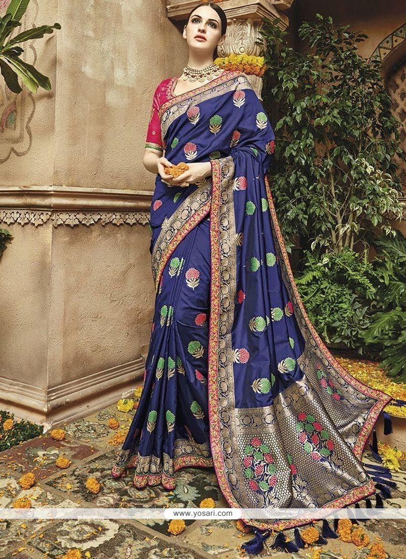 Navy Blue Weaving Work Art Silk Traditional Saree