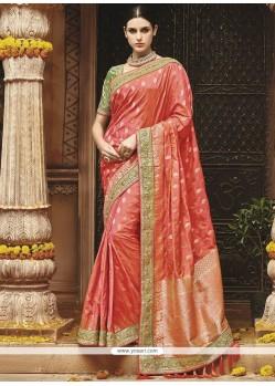 Orange Weaving Work Art Silk Designer Traditional Saree
