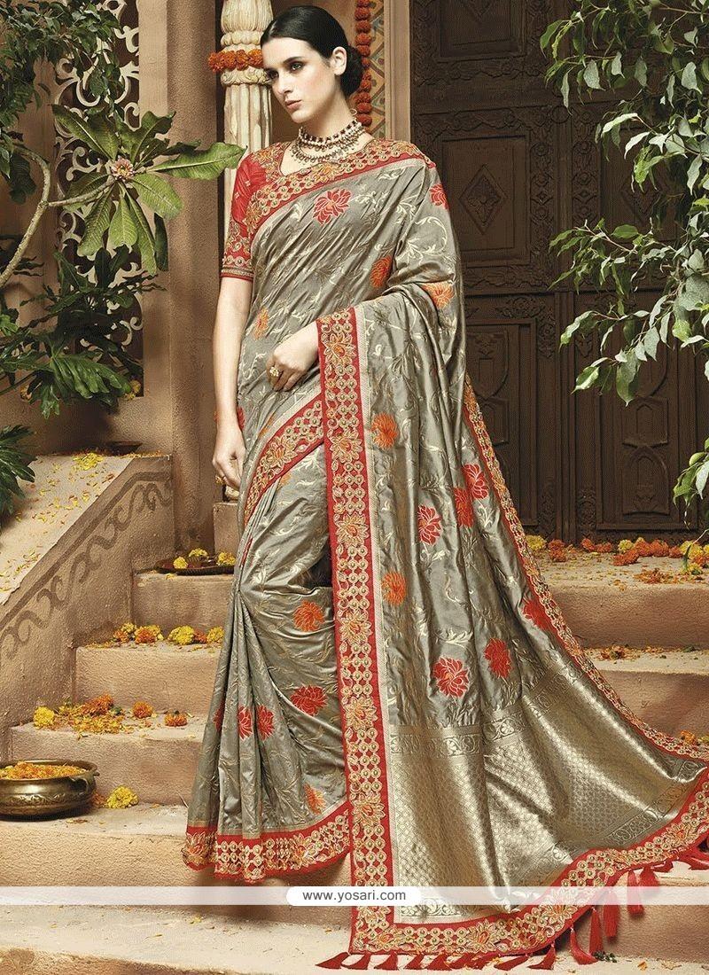 Art Silk Grey Weaving Work Designer Traditional Saree