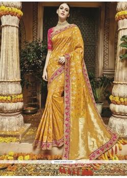 Mustard Weaving Work Art Silk Traditional Saree