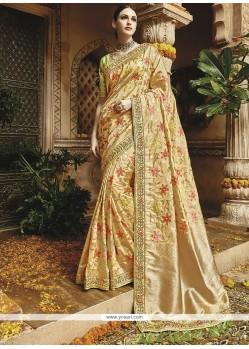 Cream Weaving Work Art Silk Traditional Designer Saree