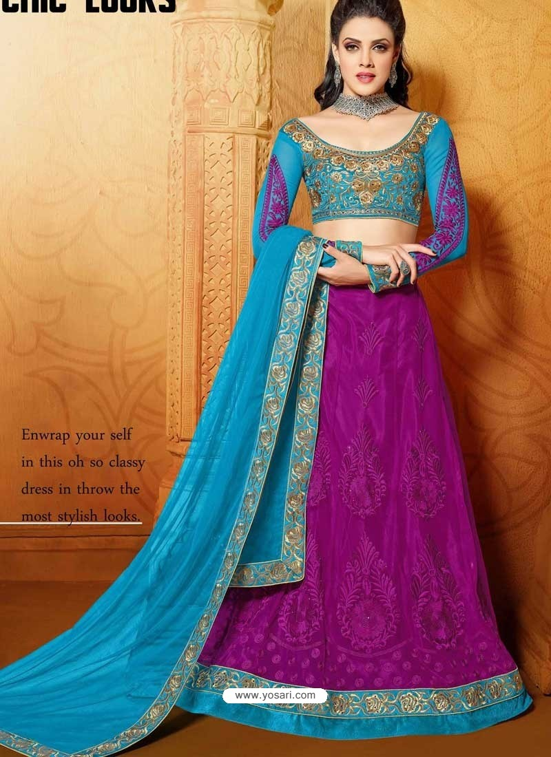 Sky Blue And Pink Net Designer Lehenga Choli