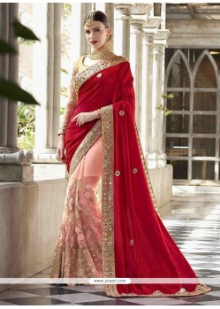 Embroidered Work Net Half N Half Designer Saree