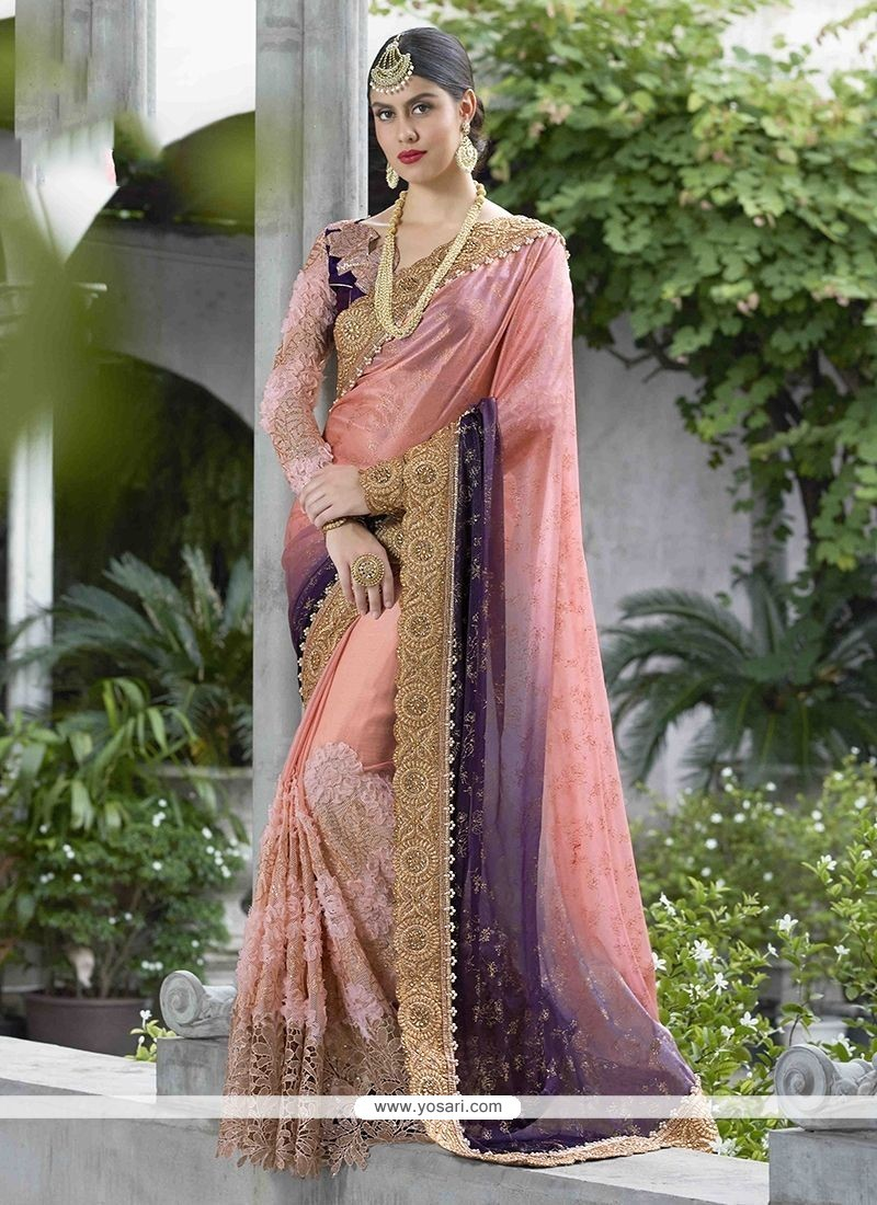 Satin Patch Border Work Shaded Saree