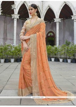 Embroidered Work Shimmer Georgette Classic Designer Saree