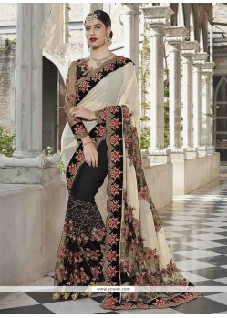 Net Black And White Designer Half N Half Saree