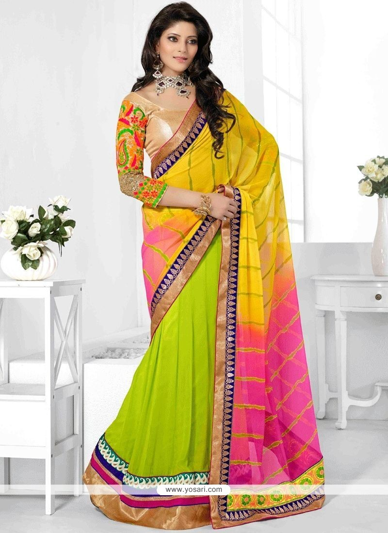Green, Hot Pink And Yellow Faux Georgette Half N Half Designer Saree