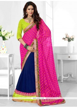 Hot Pink And Navy Blue Patch Border Work Faux Chiffon Half N Half Trendy Saree