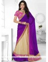 Beige And Purple Half N Half Saree