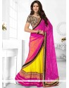 Embroidered Work Hot Pink And Yellow Designer Half N Half Saree