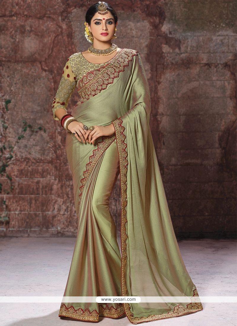 Chiffon Satin Green Embroidered Work Classic Designer Saree
