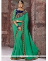 Faux Georgette Embroidered Work Classic Designer Saree