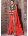 Faux Georgette Orange Patch Border Work Classic Designer Saree