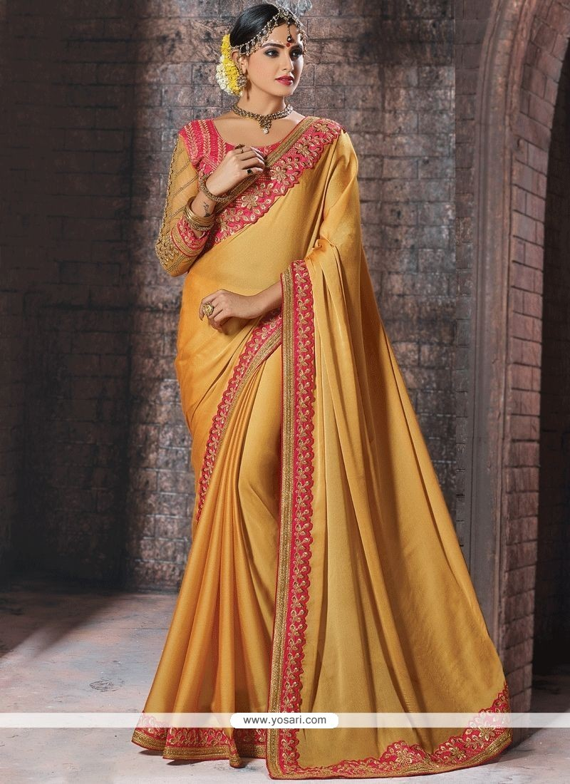 Embroidered Work Faux Chiffon Designer Traditional Saree