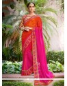 Faux Georgette Embroidered Work Shaded Saree